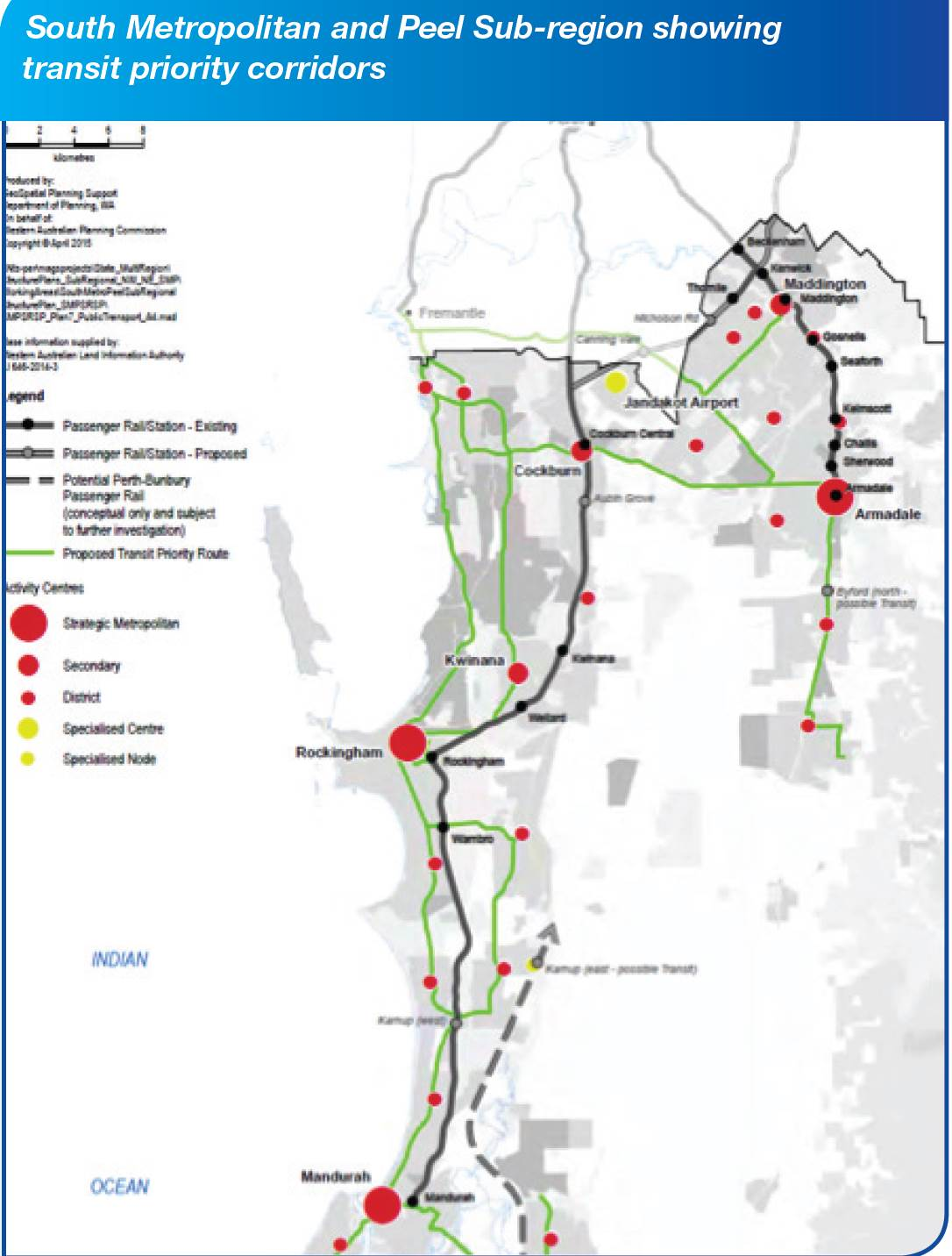 South Metro and Peel Sub-Region showing transit priority corridors
